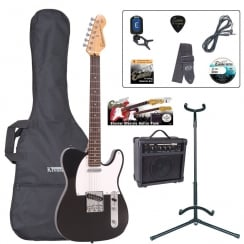 ENCORE EBP-E2BLK Electric Guitar Outfit | Gloss Black