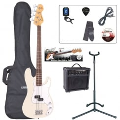 ENCORE EBP-E4VW Bass Guitar Outfit | Vintage White