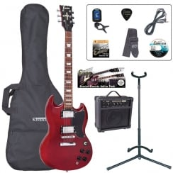 ENCORE EBP-E69CR Electric Guitar Outfit | Gloss Red