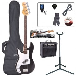ENCORE EBP-LHE4BLK Left Handed Bass Guitar Outfit | Gloss Black