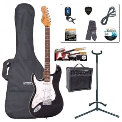 ENCORE EBP-LHE6BLK Left Handed Electric Guitar Outfit | Gloss Black
