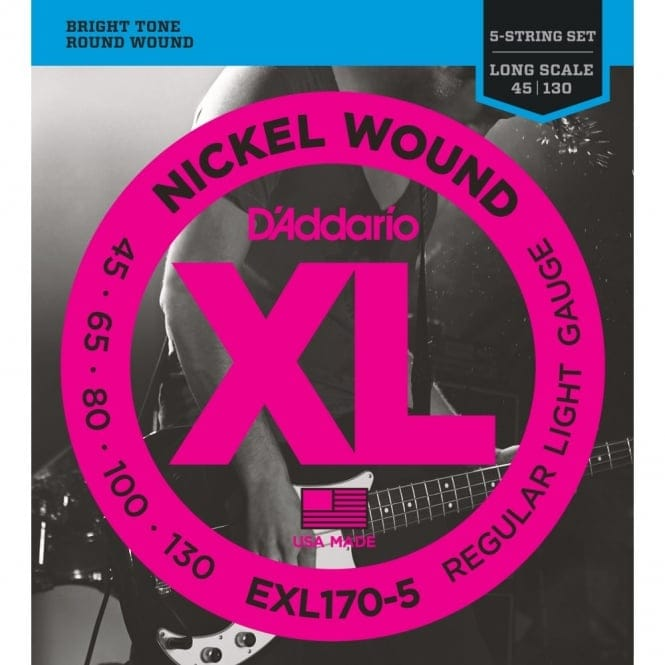 EXL170-5 5String Nickel Wound BassGuitar Strings Light45-130 LongScale