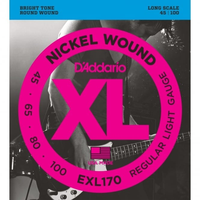 EXL170 Nickel Wound Bass Guitar Strings, Light, 45-100, Long Scale
