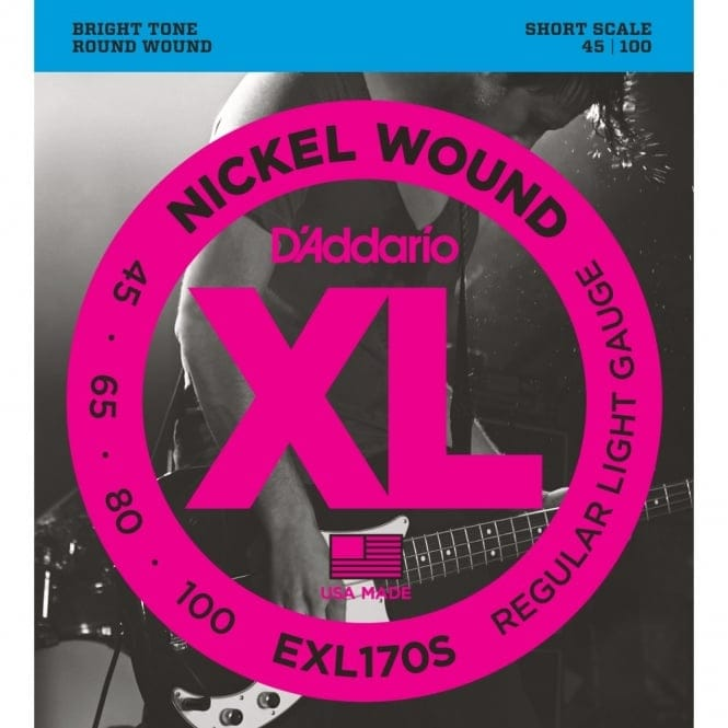 EXL170S Nickel Wound Bass Guitar Strings, Light, 45-100, Short Scale