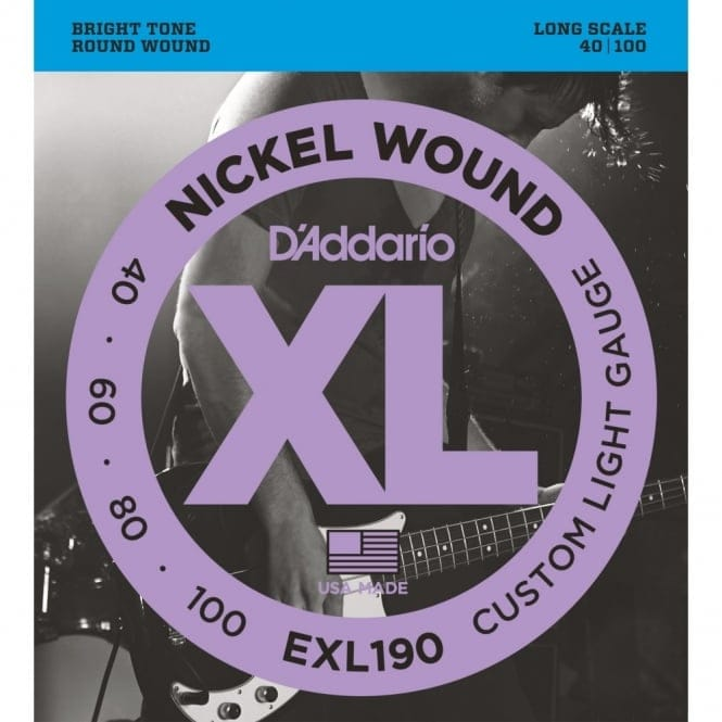 EXL190 Nickel Wound Bass Guitar Strings Custom Light 40-100 Long Scale