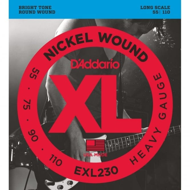 EXL230 Nickel Wound Bass Guitar Strings, Heavy, 55-110, Long Scale