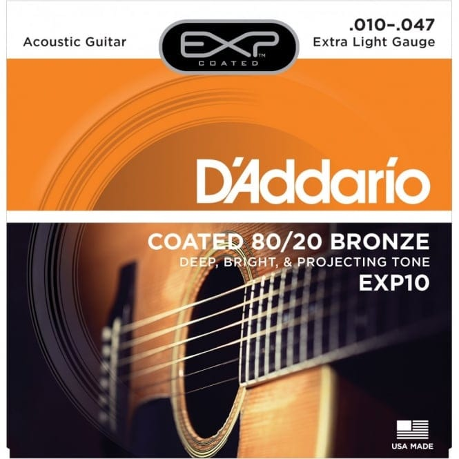 EXP10 Coated Acoustic Guitar Strings, 80/20, Extra Light, 10-47