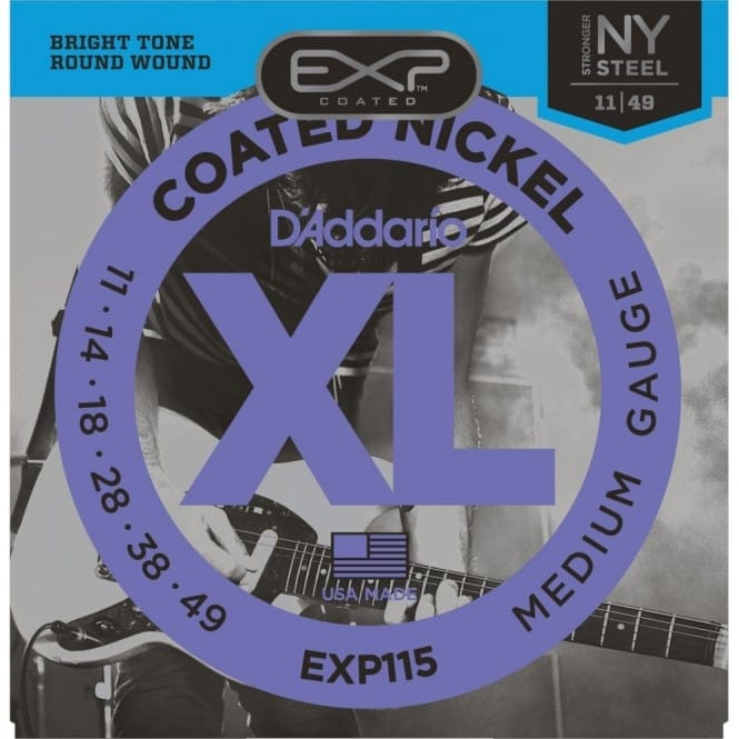 EXP115 Coated Electric Guitar Strings, Medium/Blues/Jazz, 11-49