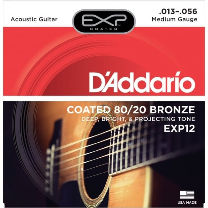 EXP12 Coated 80/20 Bronze Acoustic Guitar Strings, Medium, 13-56