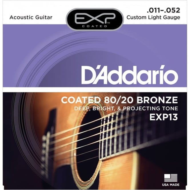 EXP13 Coated 80/20 Bronze Acoustic Guitar Strings, Custom Light, 11-52