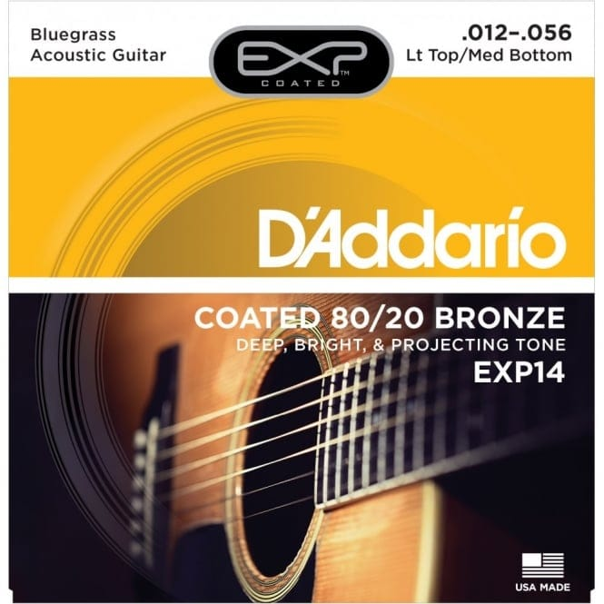 EXP14 Coated 80/20 Bronze Acoustic Guitar LightTop/Medium Bottom 12-56
