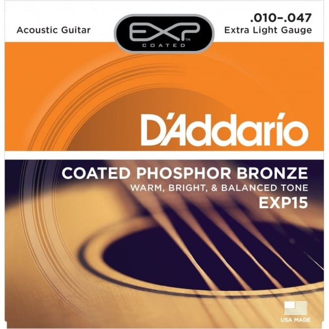 EXP15 Coated Phosphor Bronze Acoustic Guitar Strings Extra Light 10-47