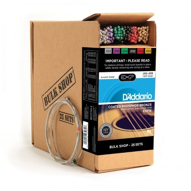 EXP16 Coated Phosphor Bronze Acoustic Guitar Strings Light 12-53 25Pk