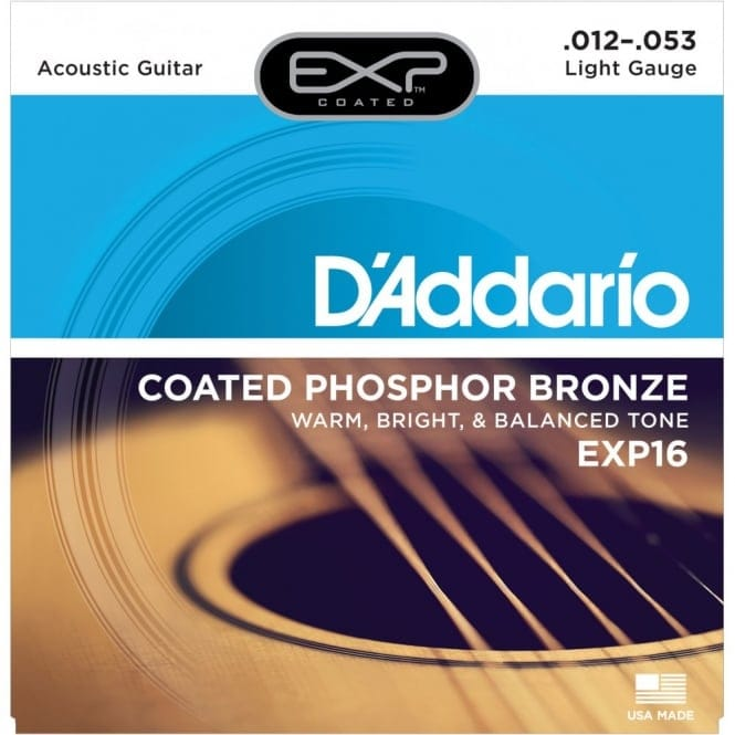 EXP16 Coated Phosphor Bronze Acoustic Guitar Strings, Light, 12-53