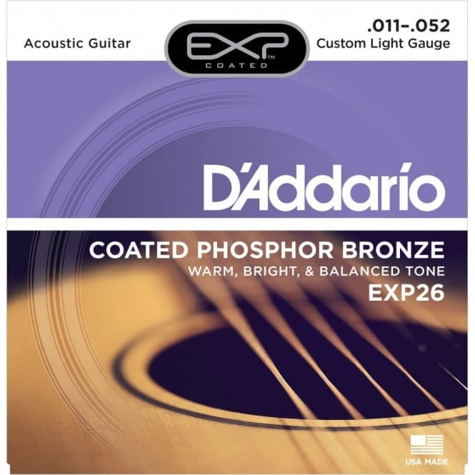 EXP26 Coated PhosphorBronze Acoustic Guitar Strings Custom Light 11-52