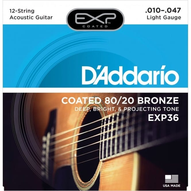 EXP36 Coated 80/20 Bronze 12String Acoustic Guitar Strings Light 10-47