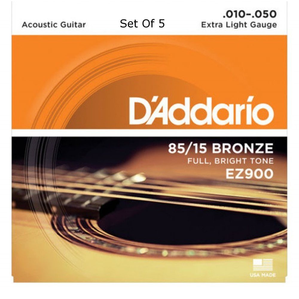 5 SETS NEW Extra Light D/'Addario EZ900 85//15 Bronze Acoustic Strings 10-50