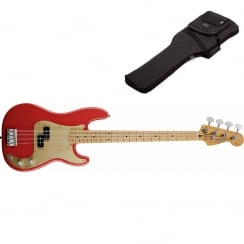Fender 50s Precision Bass Guitar | Fiesta Red | Maple Neck | Includes Gigbag
