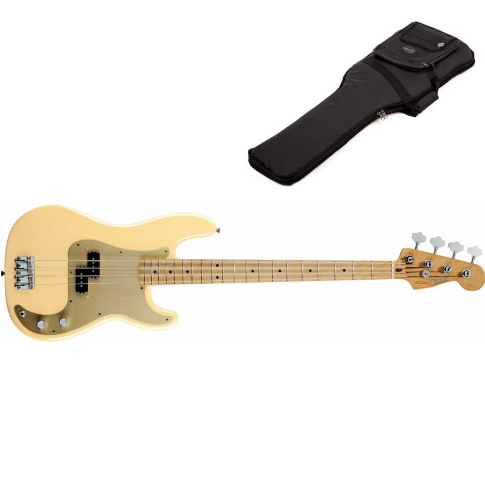 Fender At Rimmers Music 3 Way Switch Jazz Bass 50s Precision Guitar Honey Blonde Maple Neck Includes Gigbag