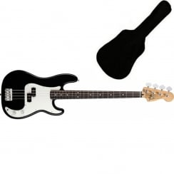 Fender Standard Precision Bass | Black | PF Tinted | Includes Gigbag