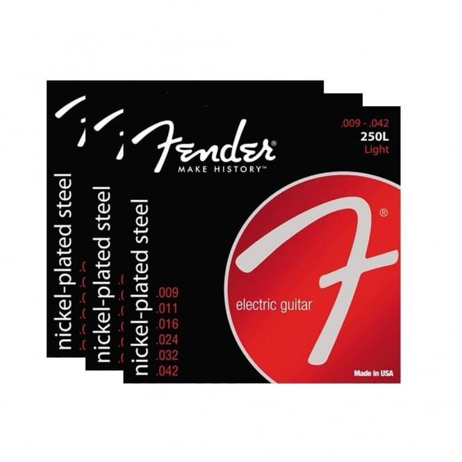 Fender Super Nickel Plated 250L Lights Strings | 3 Pack | Electric Guitar Strings