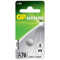 Alkaline button cell, 1.5V/ LR44, 1 piece per blister
