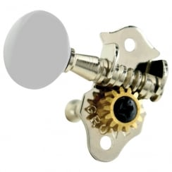 GROVER 9NW STA-TITE UKE MACHINE HEADS - NICKEL/WHITE