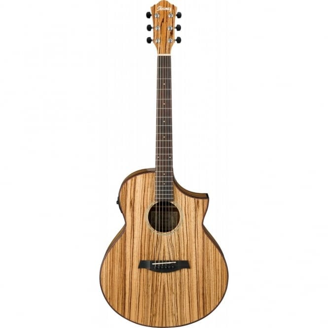 Ibanez AEW40ZW-NT ELECTRO ACOUSTIC EXOTIC WOOD SERIES Zebrawood Back and Sides