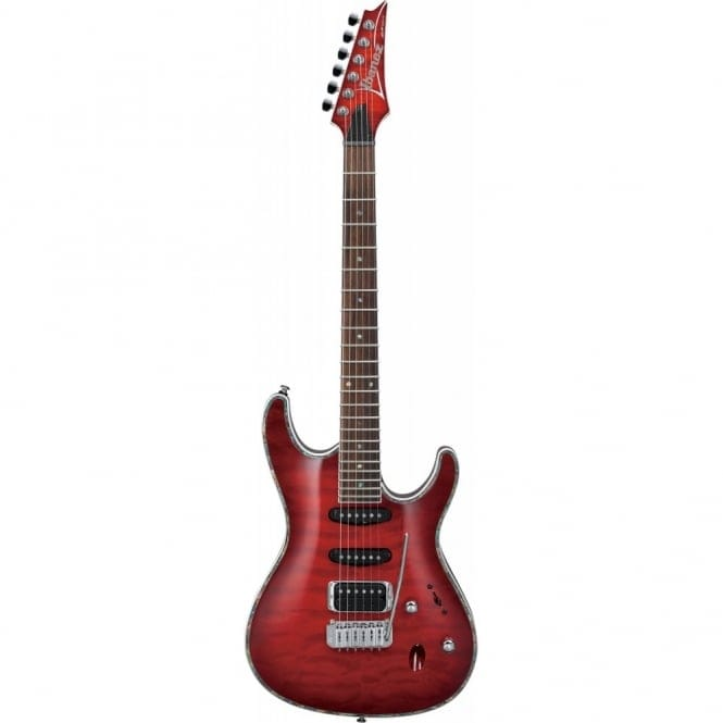 Ibanez SA360QM-TRB SA Series, HSS, Sync Trem, Quilted Maple Top, Transparent Red Burst