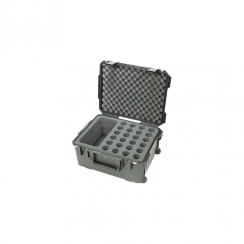 SKB iSeries Injection Molded Waterproof Case w/Foam for (24) Mics w/storage compartment and wheels