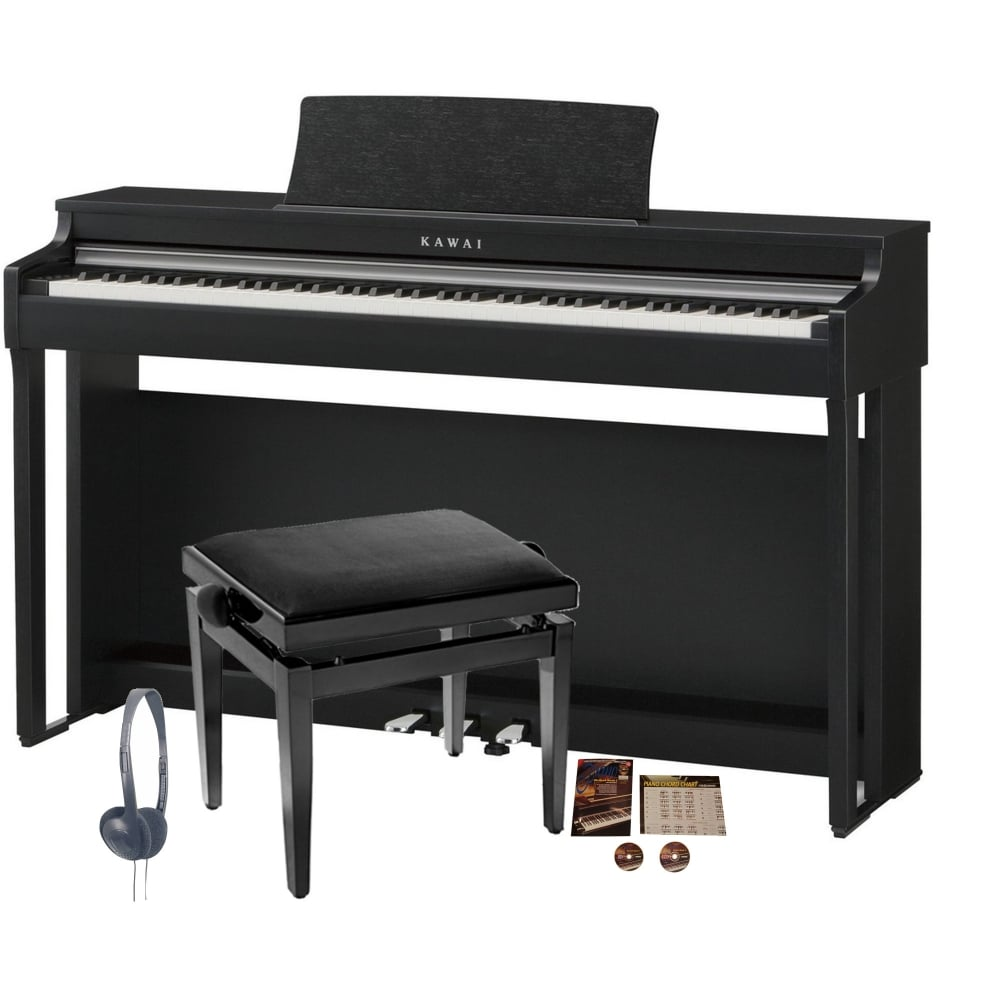 kawai cn27 digital piano bundle black rimmers music. Black Bedroom Furniture Sets. Home Design Ideas