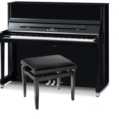 Kawai K-300 Upright Piano Black with silver fittings
