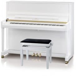 Kawai K-300 Upright Piano White Silver Fittings