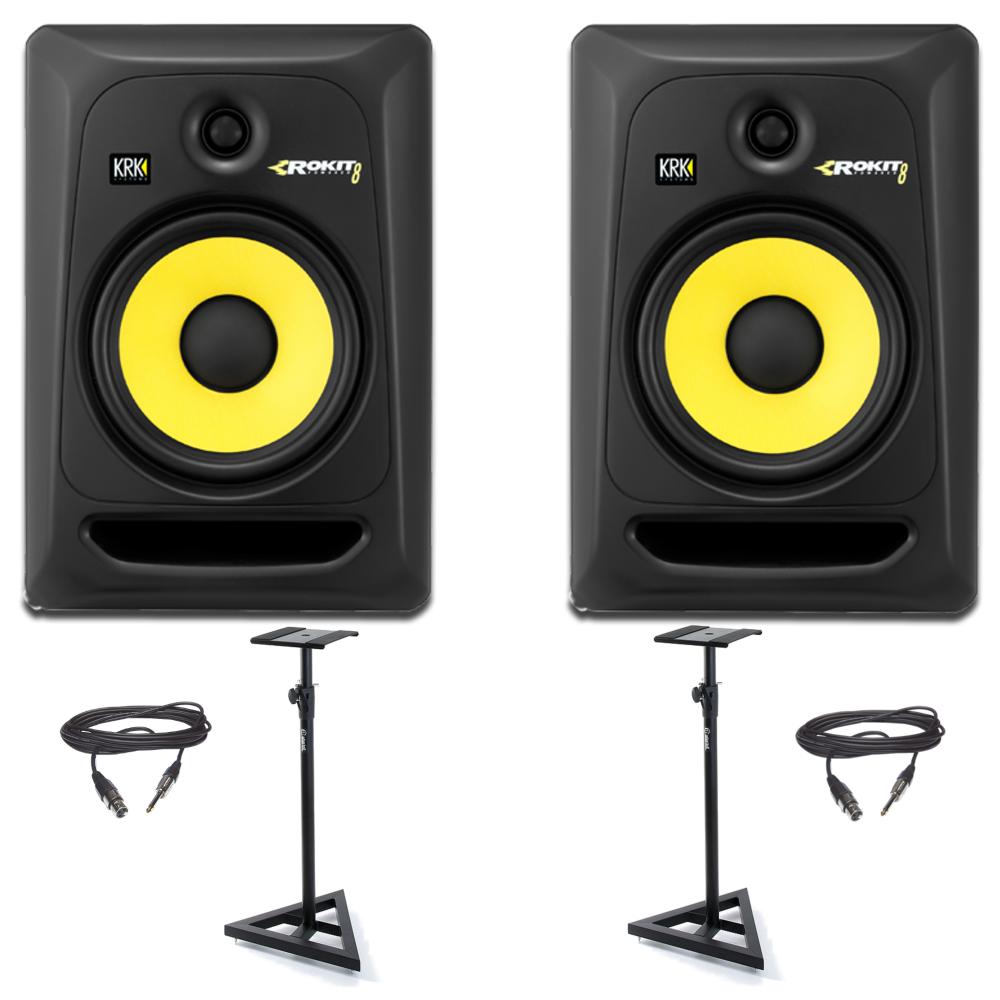 krk rp8 monitor speaker monitor stand bundle from rimmers music. Black Bedroom Furniture Sets. Home Design Ideas