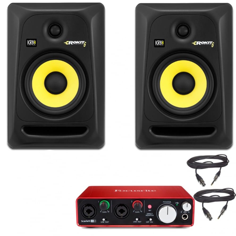 krk rp6 speakers focusrite scarlett 2i2 audio interface. Black Bedroom Furniture Sets. Home Design Ideas