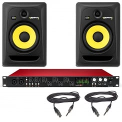 KRK RP8 Speakers & Focusrite Scarlett 18i20 Audio Interface | Studio Production Bundle