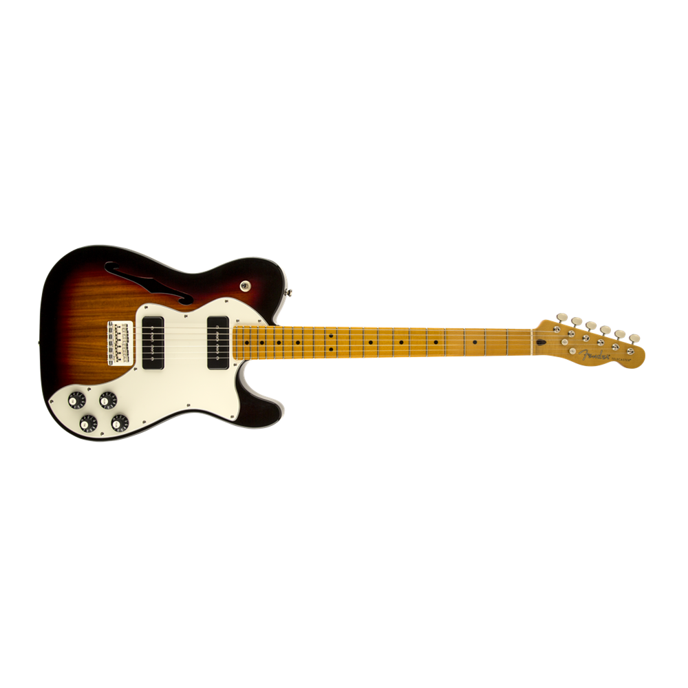 modern player telecaster thinline deluxe maple fingerboard 3 color sunburst from rimmers