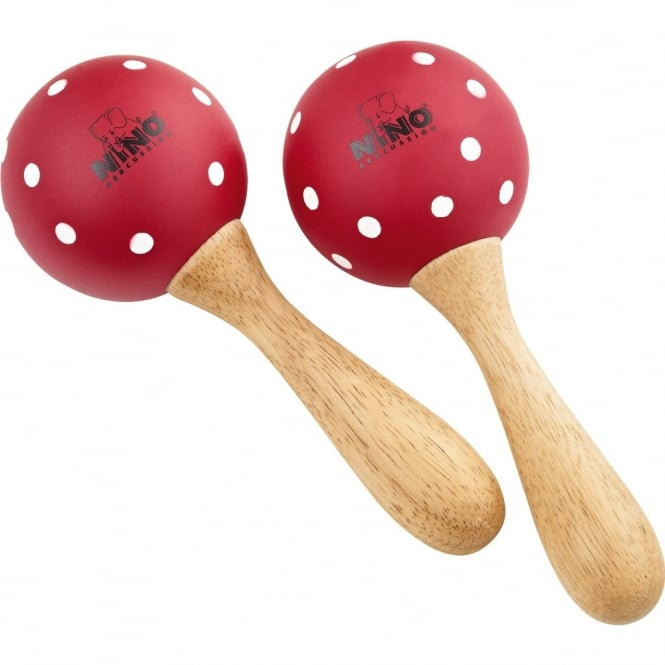 Nino Percussion Wood Maracas Red with White Polka Dots, Medium