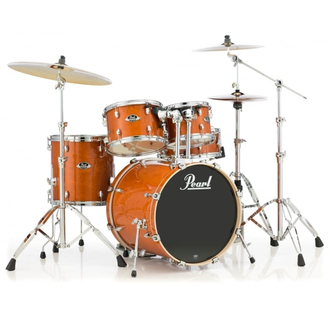 Pearl Export Lacquer 5 Pc Rock Drum Kit | Honey Amber