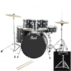 Pearl Roadshow American Fusion Complete 5 Pc Drum Kit | Jet Black