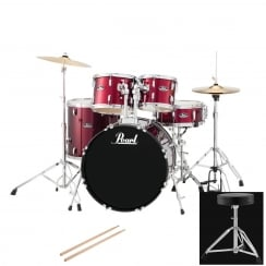 Pearl Roadshow American Fusion Complete 5 Pc Drum Kit | Red Wine
