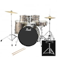 Pearl Roadshow Compact Complete 5 Pc Drum Kit | Bronze Metallic