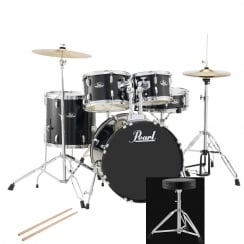 Pearl Roadshow Compact Complete 5 Pc Drum Kit | Jet Black
