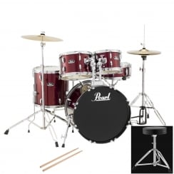 Pearl Roadshow Compact Complete 5 Pc Drum Kit | Red Wine