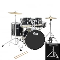 Pearl Roadshow Fusion Complete 5 Pc Drum Kit | Jet Black