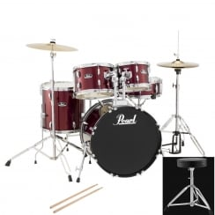 Pearl Roadshow Fusion Complete 5 Pc Drum Kit | Red Wine