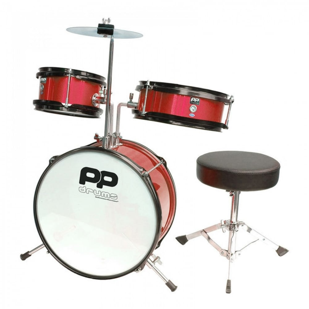 Pp Drums Junior 3 Piece Drum Kit Metallic Red Rimmers Music