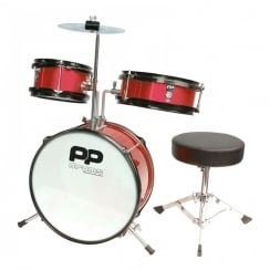 Performance Percussion PP Drums Junior 3 Piece Drum Kit - Metallic Red