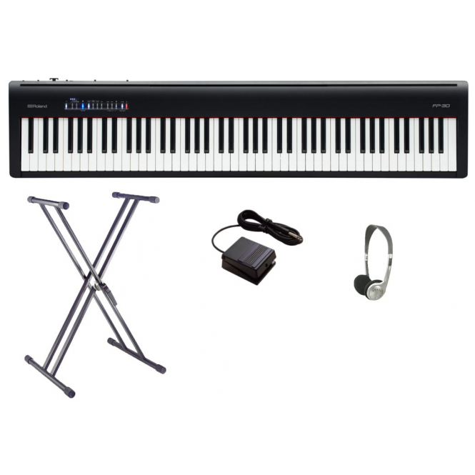 Roland FP30 Digital Piano Bundle | Black with Double X Frame & Headphones