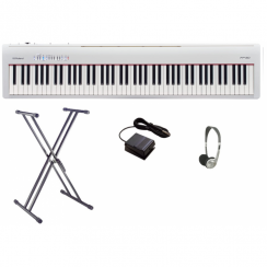 Roland FP30 Digital Piano Bundle | White with Double X Frame & Headphones